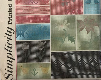Vintage Cross Stitch Printed Patterns / Simplicity 4726 Embroidery Sewing Project / Vintage Craft Supply / Get Lucky Vintage