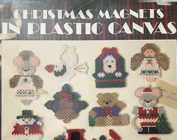 Plastic Canvas Christmas Magnets Vintage Craft Hobby Book