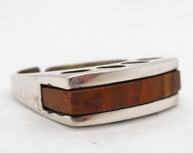 sz 6 1/2 Tigers Eye Inlay Sterling Silver Signet Ring Mid Century Modern Vintage Jewelry
