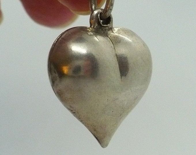 Vintage Puffy Silver Heart Charm or Pendant