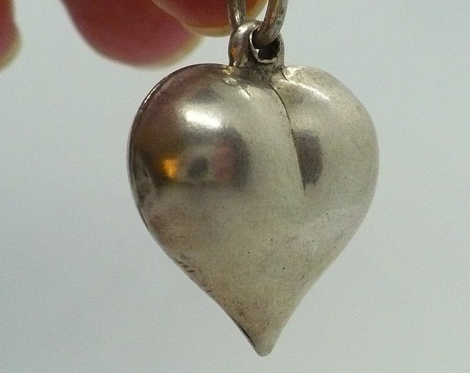 Vintage Puffy Heart Charm or Pendant Silver Charm