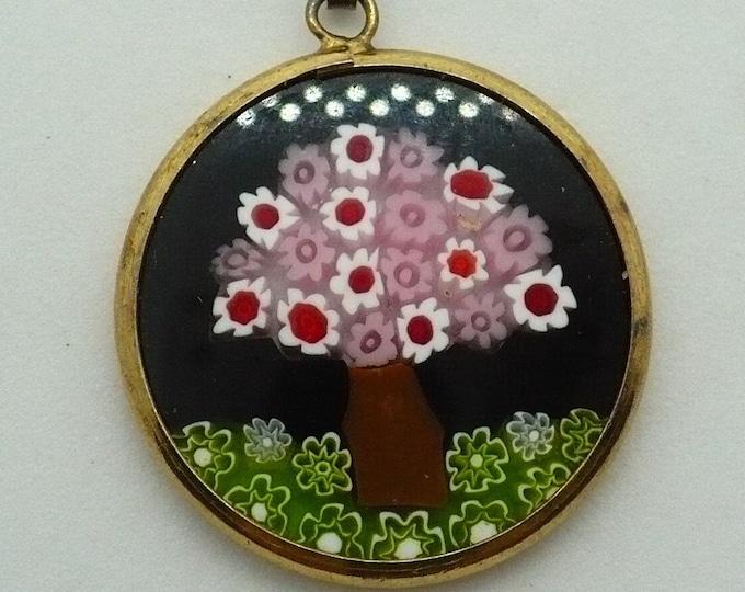 Millefiori Lampwork Floral Vermeil Murano Glass Pendant
