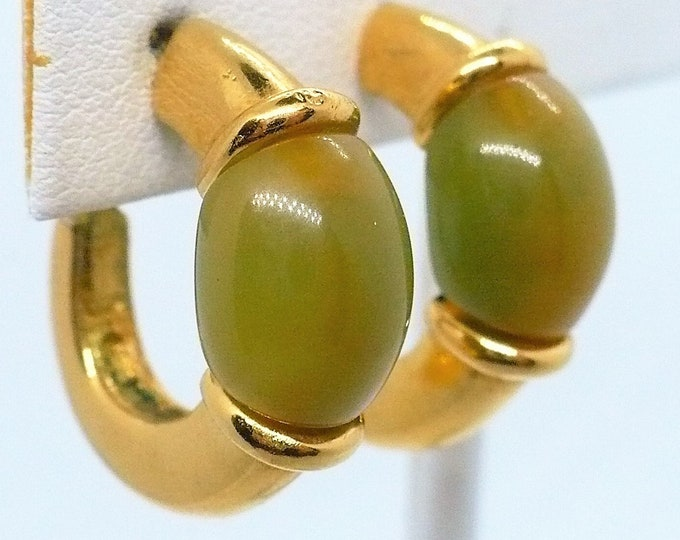 Givenchy Vintage Green Gold Tone Hoop Clip On Earrings