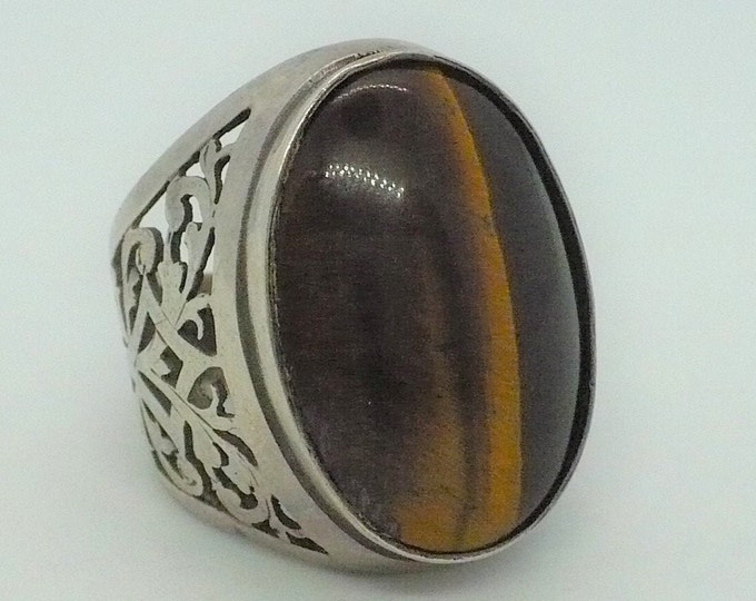 sz 8 3/4 Tigers Eye Sterling Silver Signet Ring Made In Israel Vintage Jewelry
