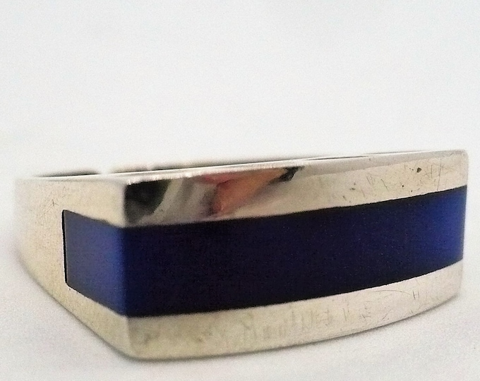 sz 5 1/2 Blue Inlay Sterling Silver Signet Ring Mid Century Modern Vintage Jewelry