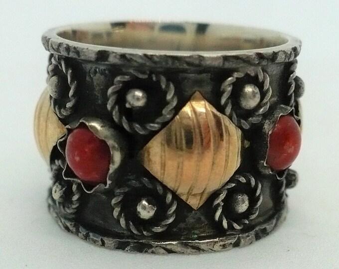Bali 18k Gold Silver Band Ring Size 6