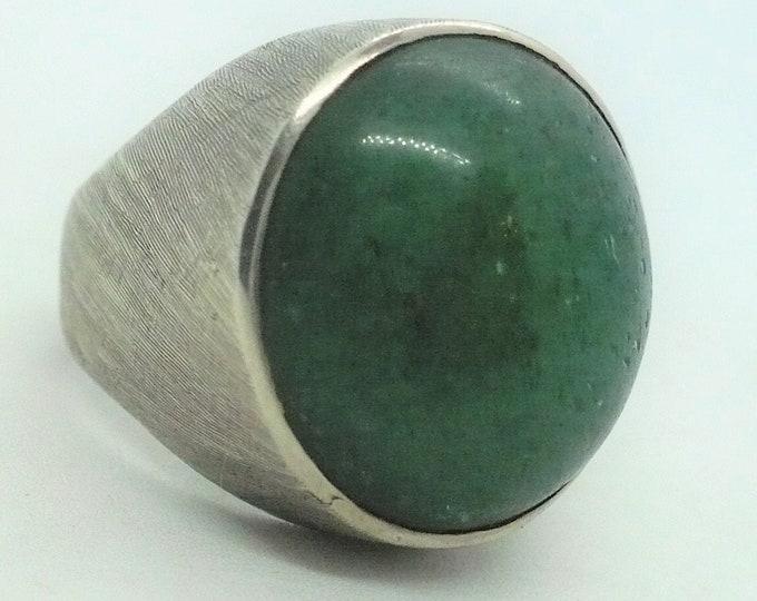 Aventurine Sterling Silver Vintage Signet Ring Mid Century Modern Size 8