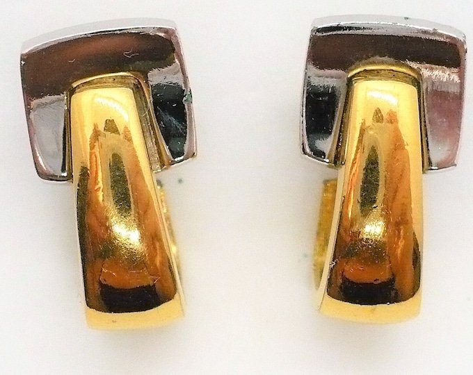 Givenchy Two Tone Metal Hoop Clip On Earrings Paris New York Vintage Designer Jewelry