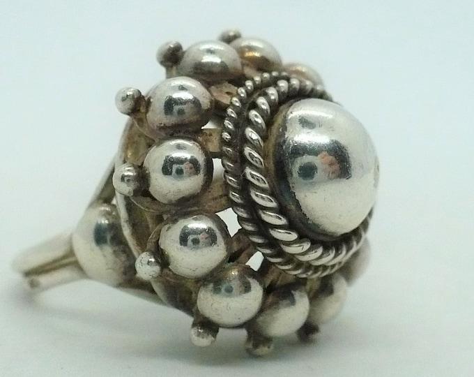 Exquisite Silver Gypsy Vintage Statement Ring Size 7 Adj