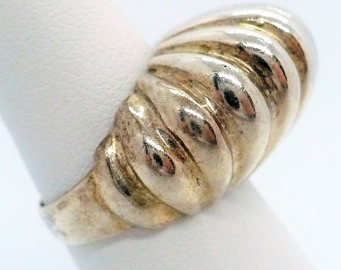 sz 7 Mid Century Modern Sterling Silver Statement Ring Vintage Jewelry