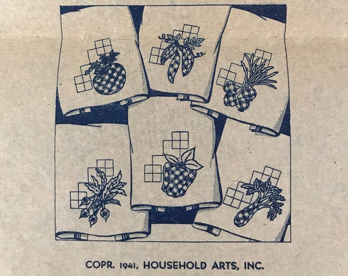 1940's Vintage Heat Transfers Hot Iron Designs Patterns Embroidery Cross Stitch Kitchen Towels Vegetable Motif