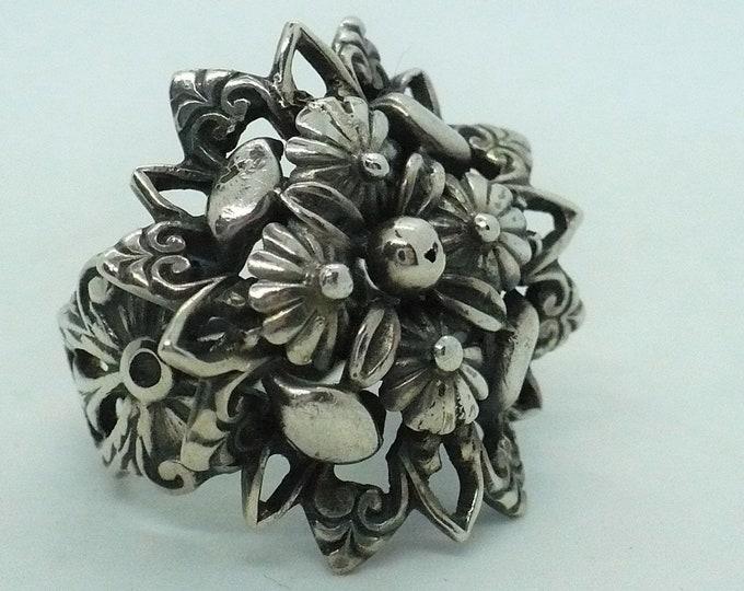 Stunning Floral Gypsy 900 Silver Vintage Statement Ring Size 8 Adj