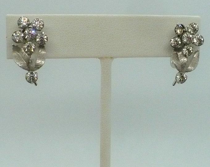 """1950's Vintage 14k White Gold Flower Screw Back Earrings """"Krementz"""""""