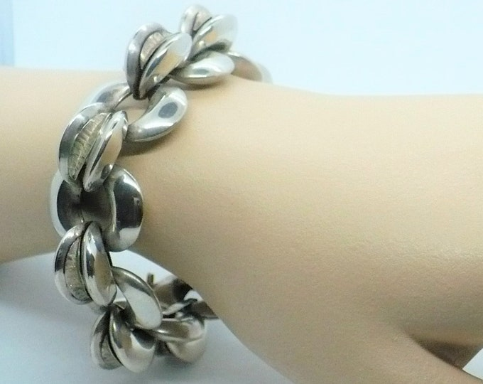 Coffee Bean Mid-century Modern Chunky Silver Statement Bracelet Vintage Jewelry