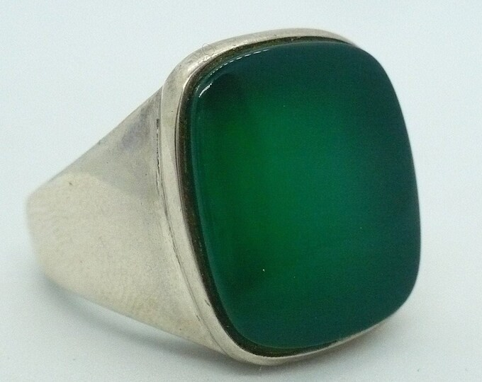 sz 9 S'Paliu Green Agate Sterling Silver Vintage Signet Ring Spain MCM