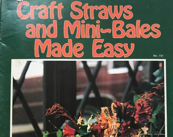 Marquetry Straw Art Mini Bales Of Hay Craft Book Projects DIY Vintage Craft Supply Craft Straws and Mini-Bales Made Easy