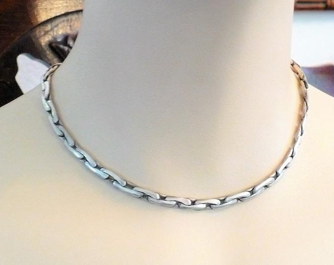 """Elthon Italian Modernist Vintage Sterling Silver Necklace 15"""""""