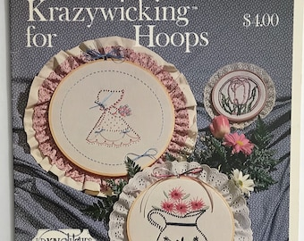 Candlewick Craft Book / Decorative Hoop Wall Art / Embroidery / Vintage Craft Supply / Get Lucky Vintage
