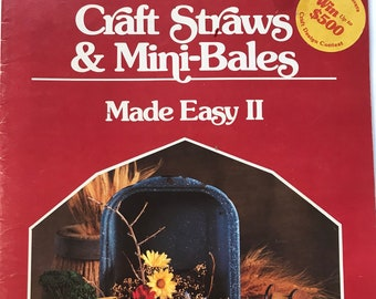 Marquetry Straw Art Mini Bales Of Hay Craft Book Projects DIY Vintage Craft Supply Craft Straws and Mini-Bales Made Easy II
