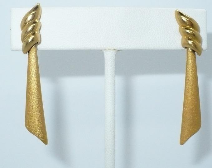 """1980's Vintage Gold Tone Pierced Drop Earrings """"Monet"""""""