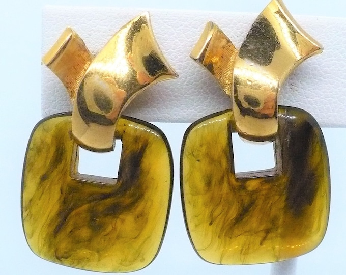 Givenchy 1978 Door Knocker Gold Tone Clip On Earrings