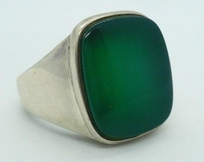 Vintage S'Paliu Green Onyx Sterling Silver Signet Ring Sz 9 SPAIN Mid Century Modern