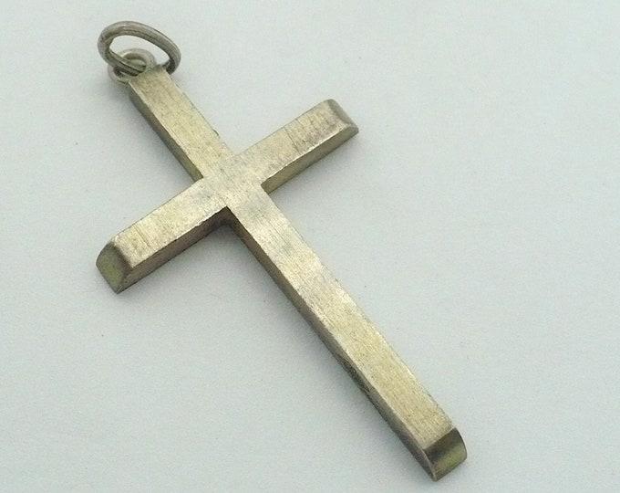 Mid Century Modern 900 Silver Cross Pendant