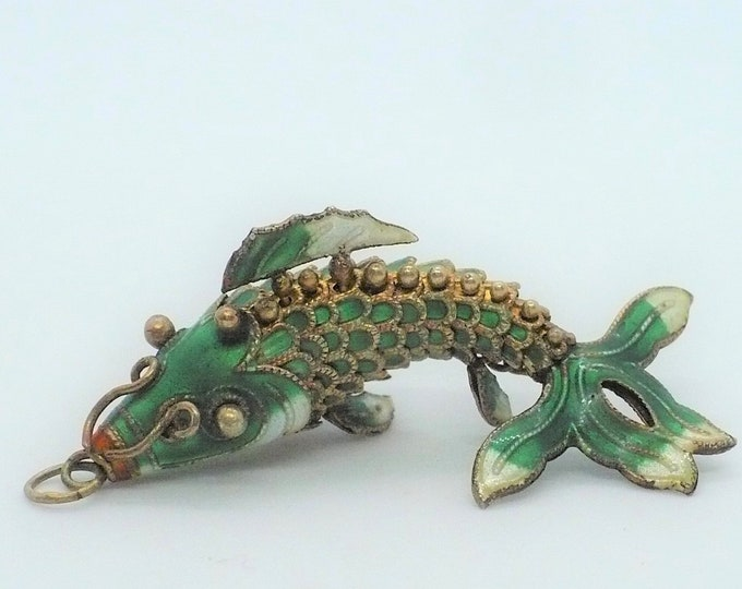 Vintage Articulated Enamel Silver Koi Fish Pendant Mid Century Chinese Export