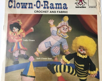 Crochet Clown Patterns Toy Projects DIY Leaflet Booklet Vintage Craft Supply Clown-O-Rama Crochet and Fabric