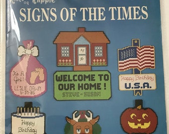 Plastic Canvas Craft Book / Holiday Themed / Signs Of The Times / Vintage Craft Supply / Get Lucky Vintage
