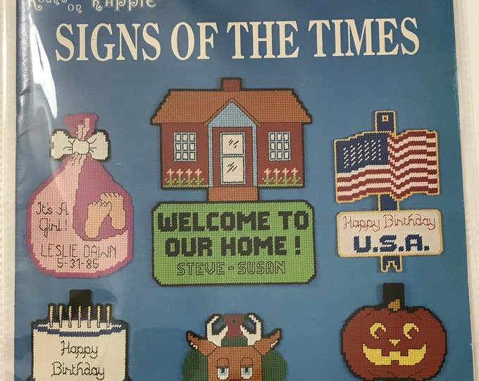 Plastic Canvas Signs Of The Times Needlework Vintage Craft Hobby Book