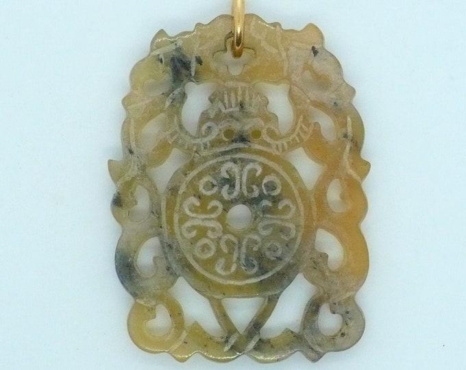 Carved Bi Disc Dragon Shoushan Stone Amulet Vintage Chinese Import