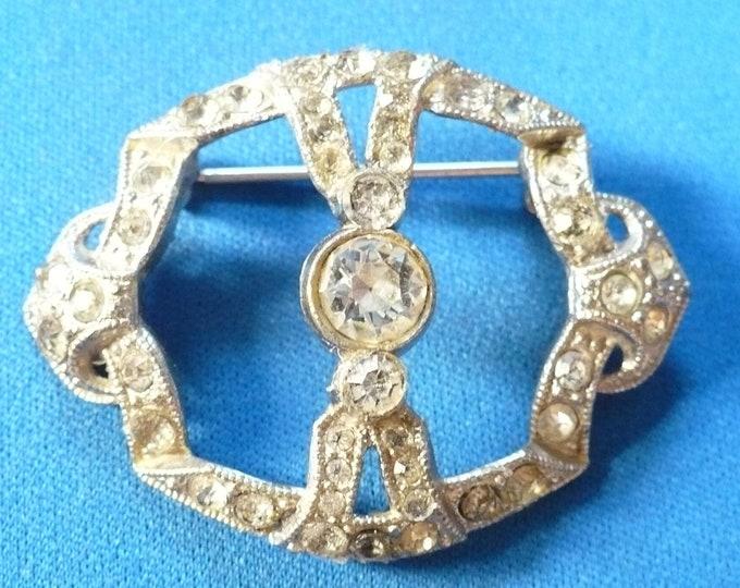1930's Vintage Pot Metal Rhinestone Pin Brooch