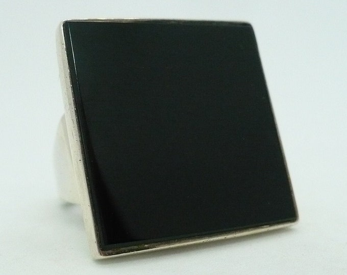 Iconic S'Paliu Mid-century Modern Black Onyx Sterling Silver Statement Ring Spain Size 6 3/4