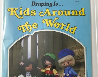 Fabric Draping Dolls Kids Around The World Figurines Craft Doll Making Craft Patterns Projects DIY Book Vintage Craft Supply