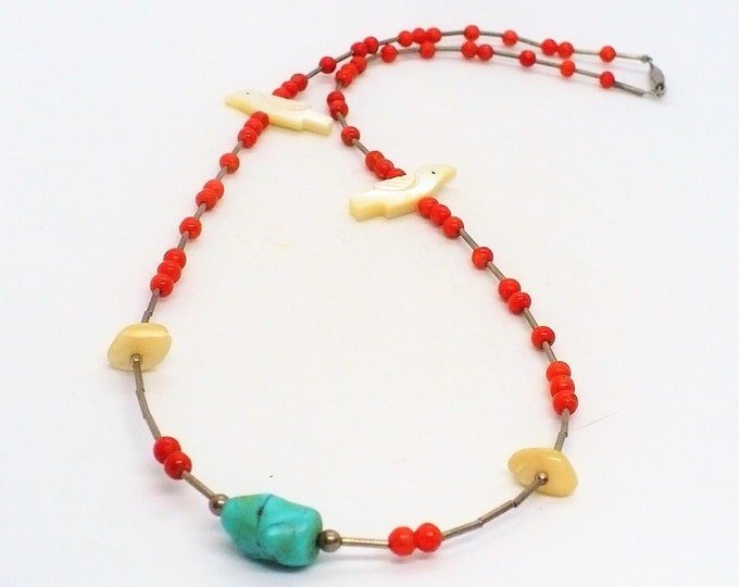 Native American Vintage Red Coral Bird Fetish Necklace