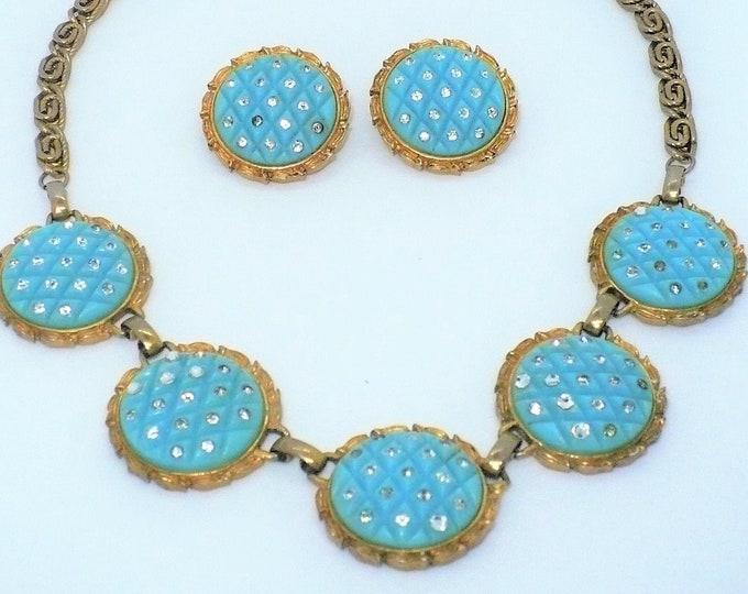 MARVELLA Designer Byzantine Jewelry Parure Vintage Necklace Earrings
