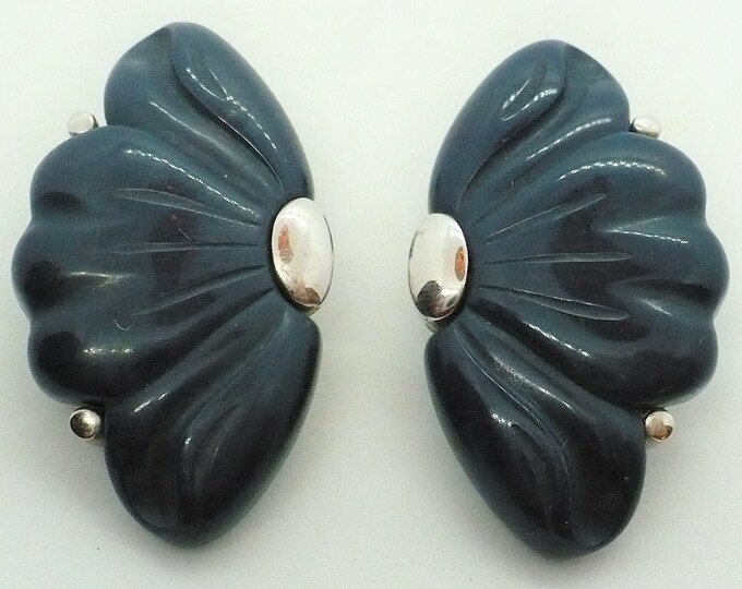 Givenchy 1976 Vintage Blue Silver Clip On Earrings