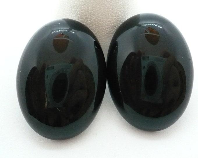 Large Black Onyx Gemstone Pierced Earrings