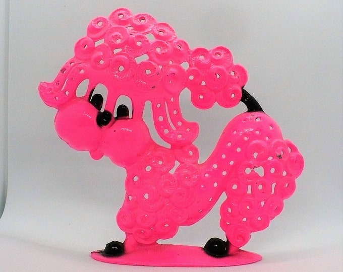 1980's Vintage Kitschy Pink Poodle Pierced Earring Trees