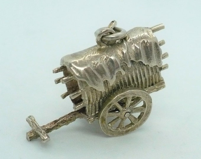 Gissha Japanese Ox Drawn Cart Silver Mechanical Charm