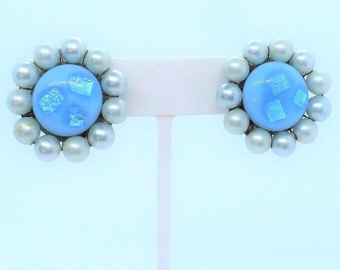 "Blue Confetti Lucite 1950's Vintage Clip On Earrings ""Japan"""