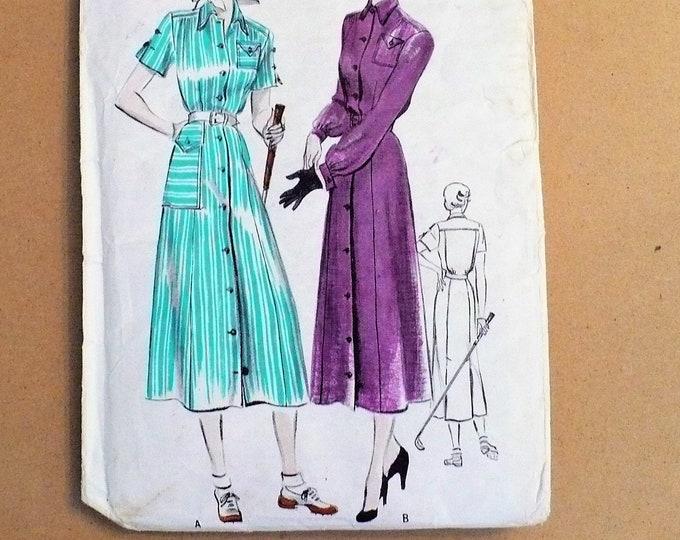 1940s Vintage Golf Classic One Piece Shirtwaist Dress Butterick Sewing Pattern 5081