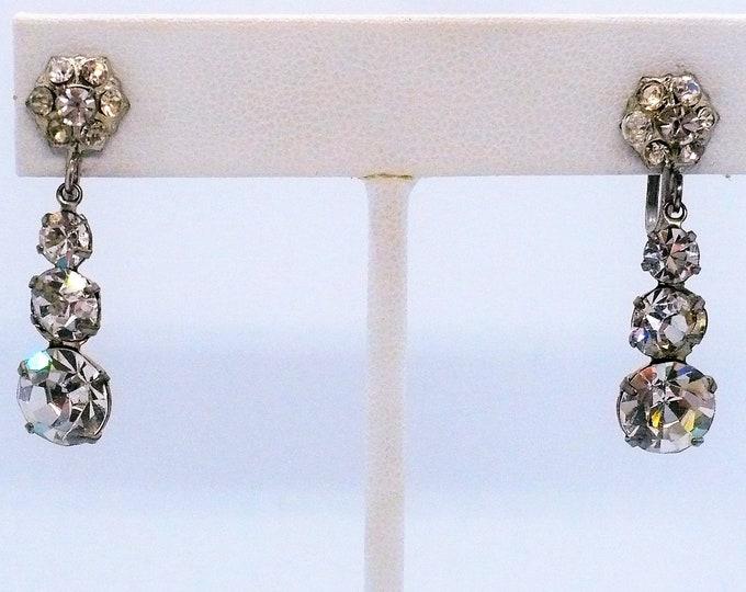 1950's Vintage Rhinestone Drop Earrings Screw Back