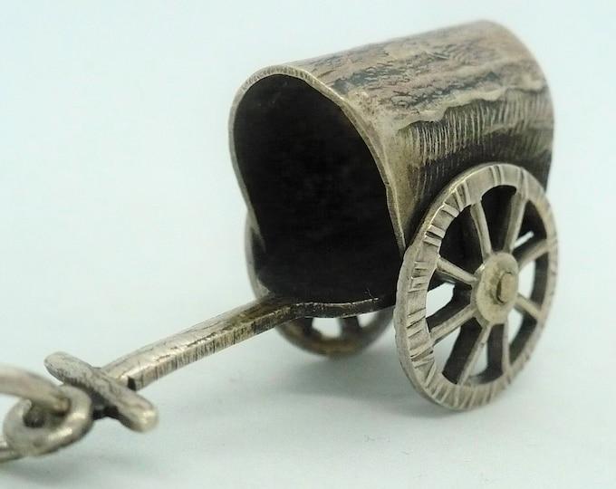 Ox Drawn Cart Gissha Japanese Silver Mechanical Charm