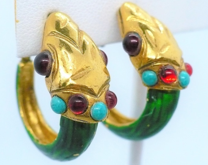 Bill Smith for Richelieu Jeweled Snake Hoop Clip Vintage 1960's Earrings