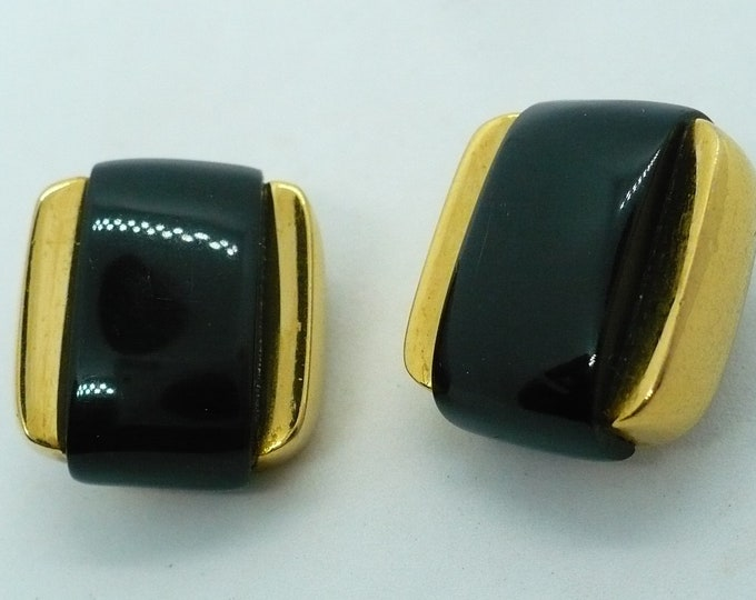 Givenchy 1977 Vintage Blue Gold Tone Clip On Earrings