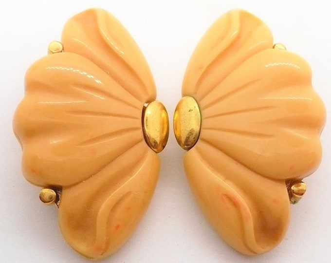 Givenchy 1976 Vintage Cream Gold Tone Clip On Earrings