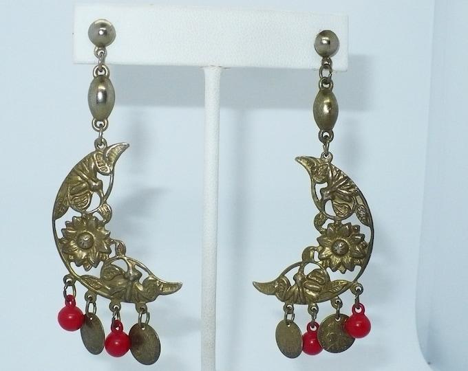 Gypsy Crescent Moon 1980's Vintage Pierced Drop Earrings