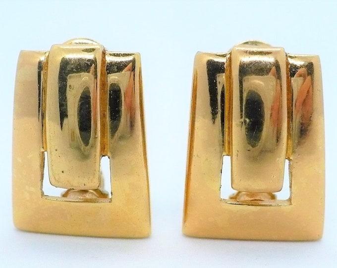 Monet Geometric Gold Tone Clip On Earrings Vintage Designer Jewelry